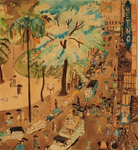 Lina Bo Bardi, Largo Getulio Vargas, Rio de Janeiro, 20 ottobre 1946, 1946, acquerello e grafite su carta / Lina Bo Bardi, Largo Getulio Vargas, Rio de Janeiro, 20 ottobre 1946, 1946, watercolor and graphite on paper São Paulo, Instituto Lina Bo e P.M. Bardi